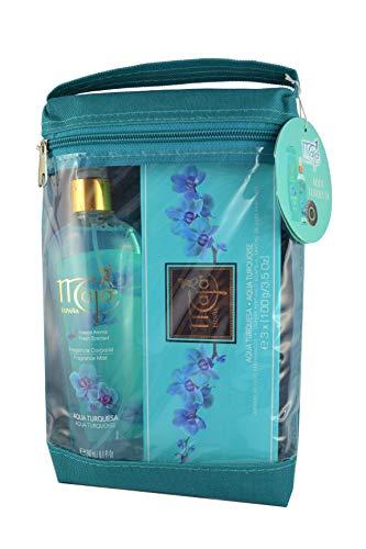 Maja Set de regalo Aqua Turquesa – Tres jabones perfumados de lujo y un spray corporal con bolsa de cosméticos – Aroma vigorizante – Idea de regalo de cumpleaños