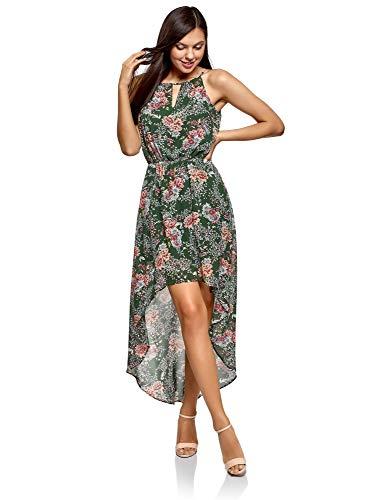 oodji Ultra Mujer Vestido de Tejido Ligero con Parte Inferior Asimétrica