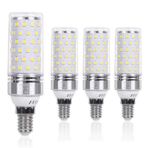 SanGlory E14 LED Mais Glühbirnen 12W, entspricht 100W Glühlampe Nicht dimmbar 6000K Kaltweiß E14 Maiskolben, 1350Lm Energiesparlampe Kleine Edison-Schraube Kerze Leuchtmittel (4er-Pack)