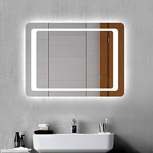 LED Badspiegel Badezimmerspiegel 80x60 mit Beleuchtung Lichtspiegel Wandspiegel mit Touch-Schalter beschlagfrei IP44 energiesparend Kaltweiß