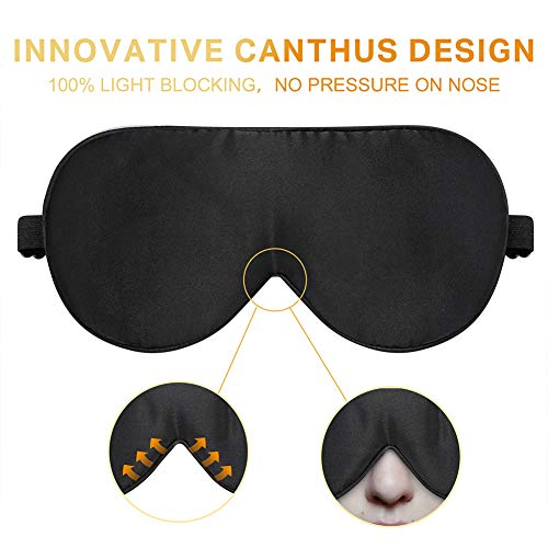 POWMEE Natural Silk Sleep Mask Blindfold Lightweight and Comfortable Super Soft Smooth Eye Mask with Adjustable Strap for Sleep Travel Nap Yoga