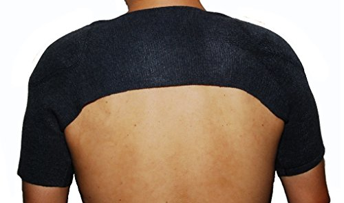 肩冷え防止 に ThankSmile カシミヤウール混 肩あて 両肩用サポーター 肩当て 五十肩 冷え性肩 肩保温 (黒, M)