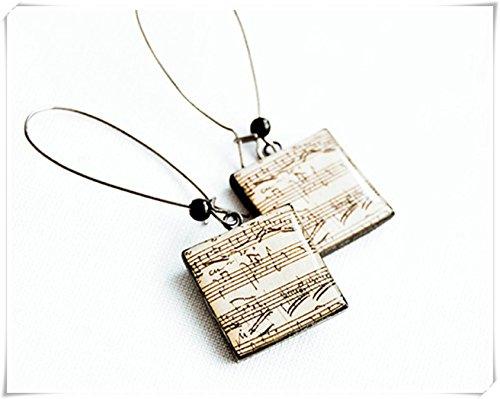 Pendientes de notas musicales, joyería de música de hojas, pendientes cuadrados, joyas...