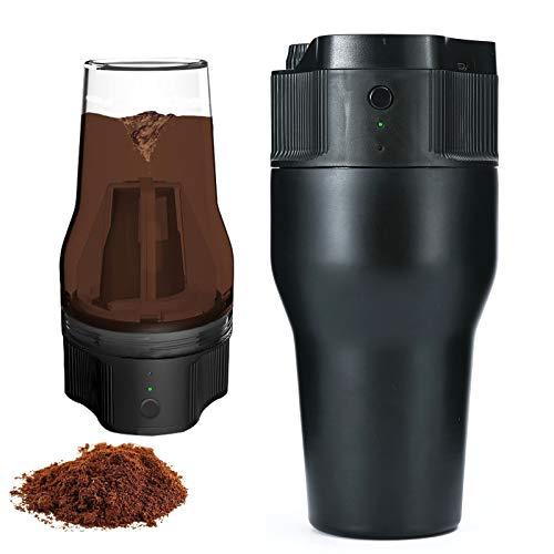 Mini Travel Coffee Maker, 17 Oz Coffee Maker Brewer Travel Mug with Kcup Filter USB Charge Mini Automatic Coffee Machine Double Wall Insulated Mug for Camping Hiking Outdoor Travel (500ml)