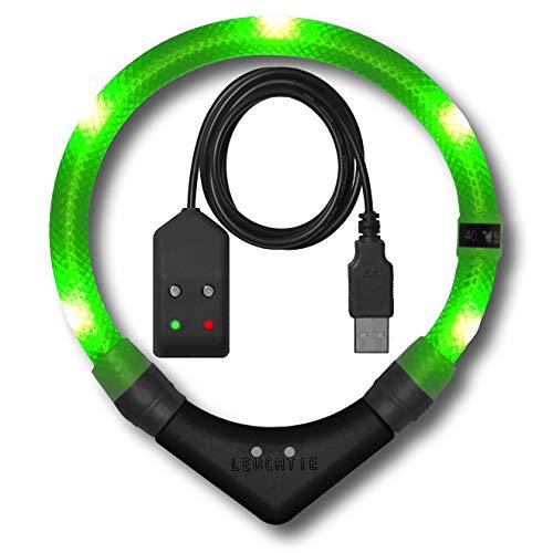 LEUCHTIE® Leuchthalsband Premium Easy Charge neongrün Größe 50 I LED Halsband für Hunde I USB aufladbar I konstante Leuchtkraft I wasserdicht I extrem hell