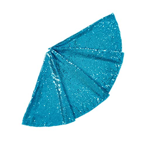 ShinyBeauty Sequined Holiday-Turquoise-Sequin Tree Skirt-24Inch Christmas Tree Skirt Polyester Aqua Blue Christmas Tree Skirt Christmas Decorations (Turquoise)