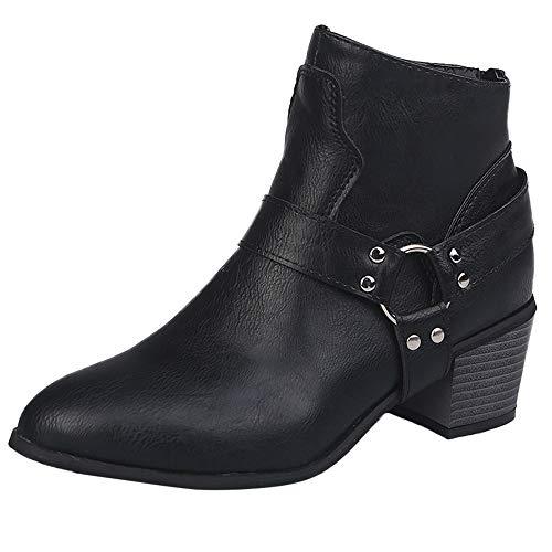 Damen Stiefel,Binggong Damen Leder Schuhe Stiefeletten Retro Stiefel mit niedrigem Absatz