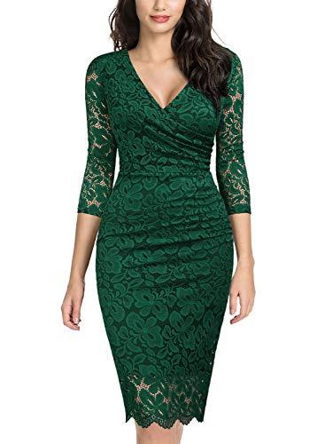 Miusol Women's Retro Deep-V Neck Ruffles Floral Lace Evening Pencil Dress (Medium, E-Dark Green)
