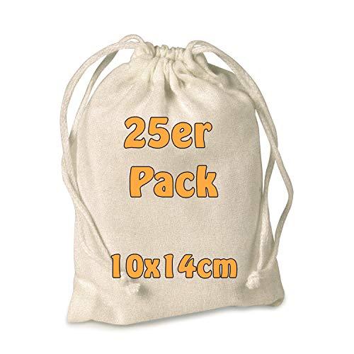 Cottonbagjoe Baumwollbeutel Stoffbeutel Stoffsäckchen mit Kordelzug Adventskalendersäckchen Schmuck Kosmetikbeutel Basteln 10x14cm (Natur, 25 Stück)
