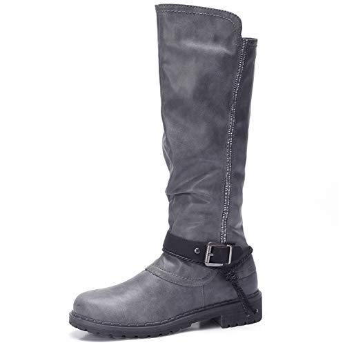 CAMEL CROWN Wide Calf Boots for Women Slouch Mid Knee High Round Toed Boots Winter