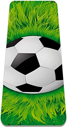 XIANWEI Creative Soccer Green Grass Yoga Mat Gruesa Gruesa sin Deslizamiento de Yoga Esteras para Las Mujeres; Matones de Ejercicio de Las Niñas Alfombras Suaves de Pilates, (72X24 En, 1/4-Pulgada de