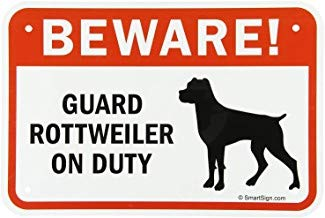 Kysd43Mill Legend Beware! Guard Rottweiler on Duty with Graphic Sign,Metal Aluminum Warning Sign,Private Property Sign,Home Garden Yard Hence Sign,for Gate Black/Red on White