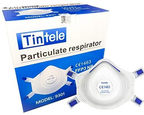 Tintele Mascherine Protettive x10 PCS Respiratore FFP3 Mask 9301V NR CE 1463 Mascherine sigillate singolarmente, Mascherina FFP3