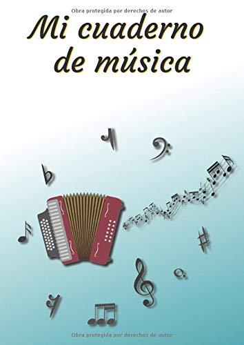 Mi cuaderno de música: Cuaderno de música | Libro de partituras | Cuaderno de teoría musical | A4 grande - 100 páginas | Portada del tema del acordeón
