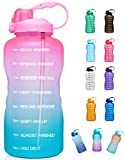 Giotto Large 1 Gallon/128oz (When Full) Motivational Water Bottle with Time Marker & Straw, Leakproof Tritan...