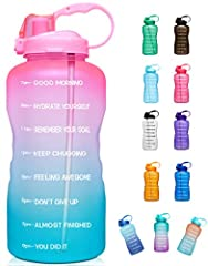 【Motivational Quote & Time Marker】Creative Design - motivational saying on the side along with time markers perfectly help you keep on track of drinking a gallon of water a day. Great for measuring your daily intake of water, reminding you stay hydra...