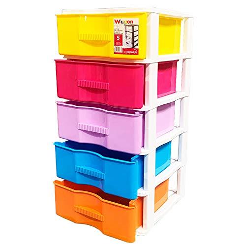 Acan Cajonera Wagon 5 cajones Multicolores con 4 Ruedas 85 x 38 x 39 cm