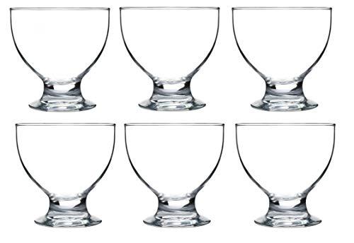 KADAX Eisbecher, Eisschale aus hochwertigem Glas, Dessertschale für Eiscreme, Desserts, Obst, Vorspeise, Cocktails, Dessertglas, Eisglas, Eiscremeglas, transparent (6, 450 ml)
