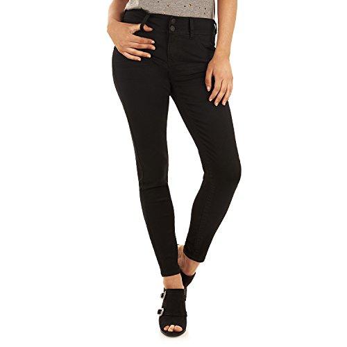 WallFlower Women's Juniors Luscious Curvy Skinny Jeans in Black, 1