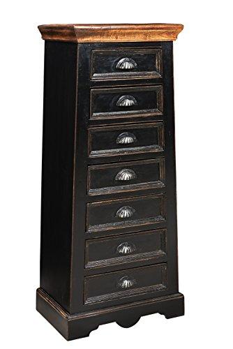 SIT-Möbel 5810-11 Kommode Corsica, 43 x 33 x 110 cm, Mango / MDF, schwarz mit honigfarbiger Deckplatte