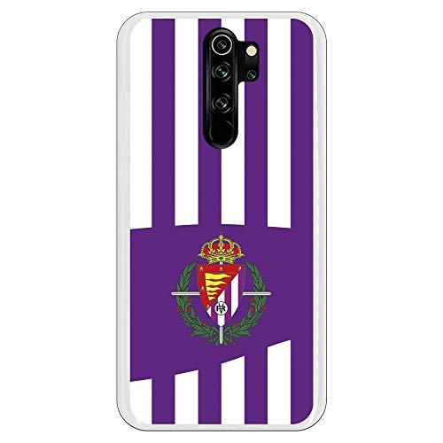 Funda para Xiaomi Redmi Note 8 Pro Oficial del Real Valladolid Franjas Lila y Blancas para Proteger tu móvil. Carcasa para Xiaomi de Silicona Flexible con Licencia Oficial del Real Valladolid.
