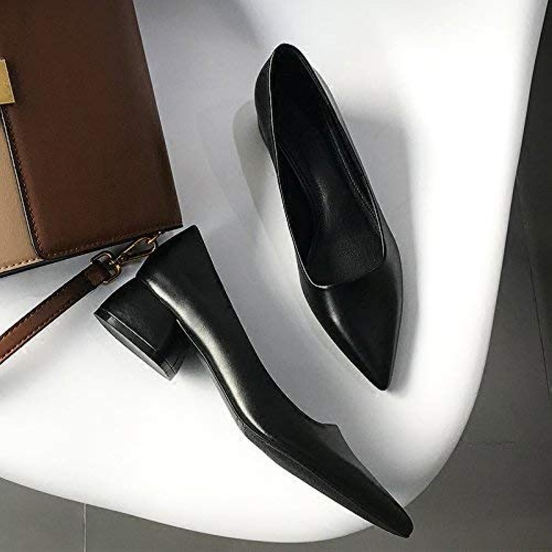 HhGold Court Schuhe Scharfe Flache Schuhe mit niedrigem Absatz Schuhe Frauen dick mit Arbeitsschuhe Freizeit-Sets von Füen Damenschuhe (Farbe   37, Gre   Rot)