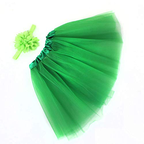 WOZOW Mädchen Tüllrock Einfarbig Bowknot Stirnband Ballettrock Tanzkleid Minirock Cosplay Crinoline Petticoat Weihnachten Fasching Röckchen