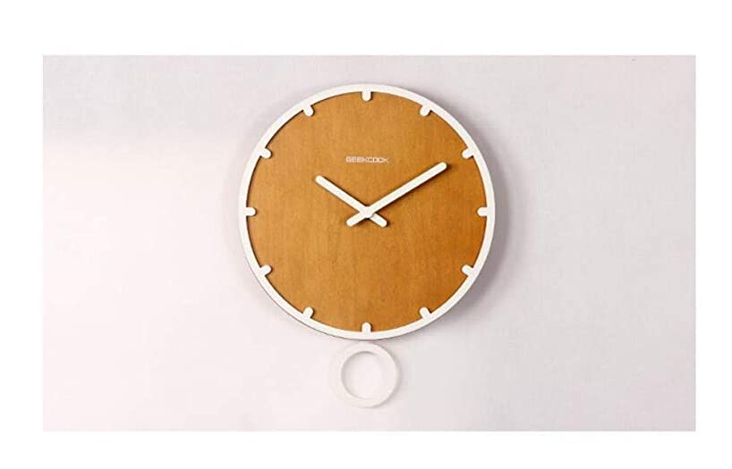 YUAnCC Universal Indoor/Outdoor Clock, 13 1/2-Inch, White/Brown Analog Wall Clock,B