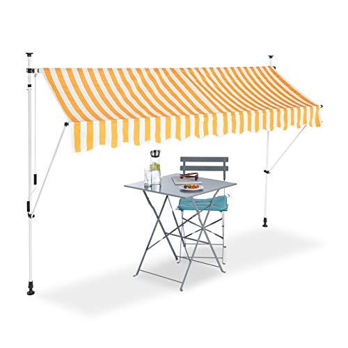Relaxdays Tenda da Sole, Protezione per Il Balcone, Regolabile, Senza Forare, a Manovella, Larga 300 cm, a Righe, Giallo/Bianco, 300 x 120 cm