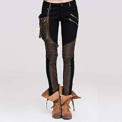 IHCIAIX Pantalones de Cuero para Mujer,Pantalones empalmados Vintage de Moda, para Mujer Pantalones Largos Heavy Rock Black Coffee