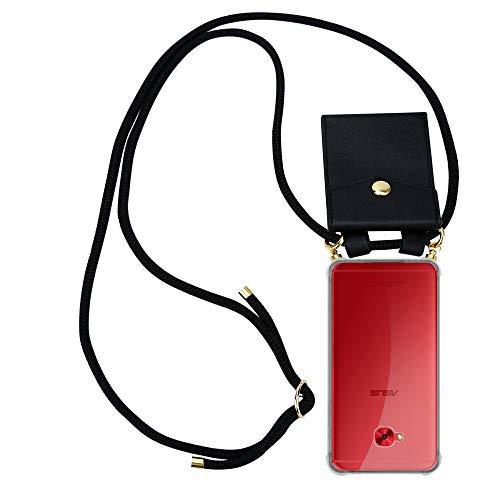 Cadorabo Handy Kette für Asus ZenFone 4 Selfie PRO in SCHWARZ - Silikon Necklace Umhänge Hülle mit Gold Ringen, Kordel Band Schnur & abnehmbarem Etui – Schutzhülle