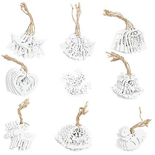 68 Weihnachts-Anhänger | Baumschmuck für Weihnachten | Christbaumschmuck aus Holz | 2,5 cm bis 7 cm groß | 3 mm stark | weiß | 68 Stück | DIY Dekoration, Weihnachtsschmuck, Holzanhänger