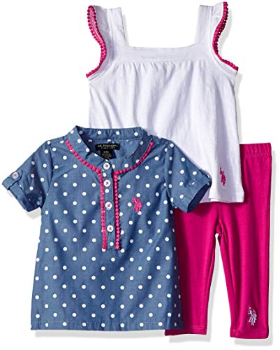 U.S. Polo Assn. Baby Girl's Sport Shirt, Knit Top and Legging Set Pants, Polka dots on Chambray White, 24M