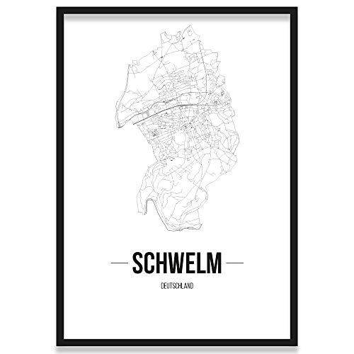 JUNIWORDS Stadtposter, Schwelm, Wähle eine Größe, 21 x 30 cm, Poster mit Rahmen, Schrift B, Weiß
