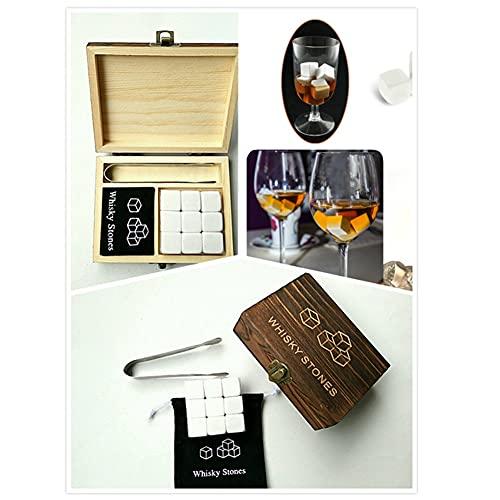 Juego 9 Piezas con Pinzas de Hielo Blanco Piedra de Whisky Granito Piedras Frías Vaso de Whisky Set de Regalo de Caja de Madera el Regalo Perfecto para Beber para Hombres y Padres