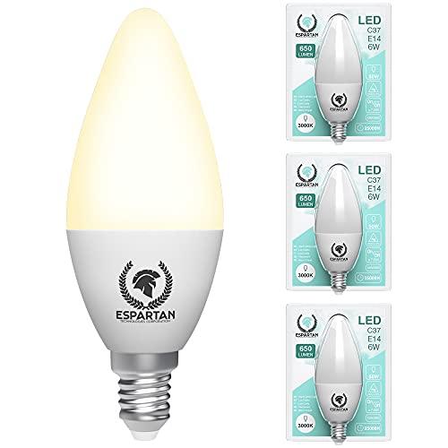 Espartan - Lampadine LED E14 Luce Calda, 6W, 650 Lumen, 3000K, Lampadina LED E14 Luce Calda, Candela, Equivalenti a 50W Lampada a Incandescenza Alogena, Lampade LED E14 - Pacco da 3 Lampadina E14