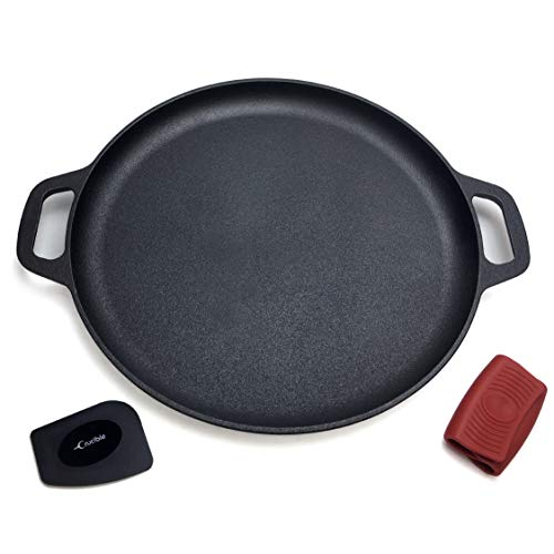 Cast Iron Pizza Pan 13.8' (Pre-Seasoned), Baking Pan, Cooking Griddle, for Stove, Grill, BBQ and Oven - Including Silicone Hot Handle Holders and Scraper