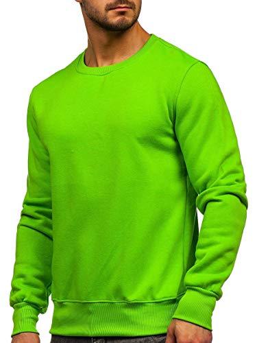 BOLF Herren Sweatshirt Pullover Sweater Pulli Langarmshirt Longsleeve Freizeit Sport Fitness Outdoor Basic Casual Style J.Style 2001-31 Hellgrün XXL [1A1]