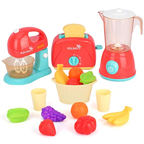 LBLA Kids Pretend Play Kitchen Set, Assorted Kitchen Appliance Toys with Mixer, Blender, Toaster Play Foods and Accessories,Great Learning Gifts for...