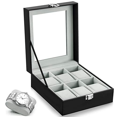 Oyydecor Watch Box 6 Slots PU Leather Case Organizer Wooden Storage Organizer for Storage and Display Men's & Women's Gift Business
