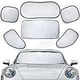 Car Sun Shades for Window ,6Pcs Foldable Front ,Side and Rear Window Sunshade ,Auto Sun UV RaysBlocker Visor Protector for Most Sedans SUV Truck - Easy to Install