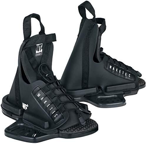 WAKETEC Wakeboard Bindung Onset, Größen 34-47 EU - S/M, L/XL, großer Verstellbereich, Anfänger-Bindung, universelles Lochbild, Wake-Binding Boots Schuhe, Kinder Erwachsene, schwarz, Größen:L-XL