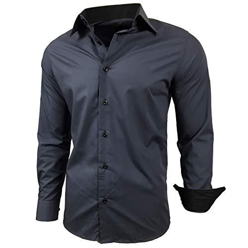 Baxboy Herren-Hemd Slim-Fit Bügelleicht Für Anzug, Business, Hochzeit, Freizeit - Langarm Hemden für Männer Langarmhemd R-44, Größe:L, Farbe:Anthrazit