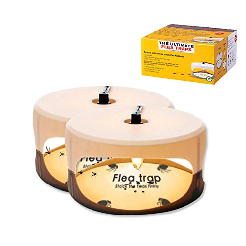Micnaron Sticky Dome (2 Packs) Flea Capture Trap w/Sticky Pads, Flea Infestion Natural Treatment, Flea Trap Light Bulbs for Cats and Dogs