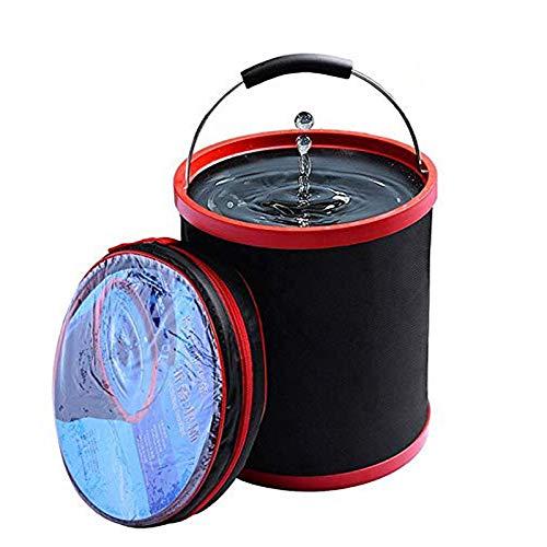 Zeeanker Zusammenklappbarer Faltbarer Wassereimer,Collapsible Storage Case, zum Waschen von Autos Angeln Camping Beach Outdoor-Sport oder für den Heimgebrauch (Schwarz-13L)