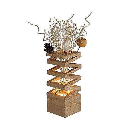 Irinay Vase minimaliste nordique moderne a mené la lampe de bureau a mené la veilleuse avec la conception creuse de chêne blanc faite comme vase en tant que fleur séchée (Color : Colour-Size)