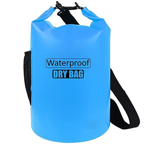 AILGOE Bolsa impermeable 5L/10L/15L/20L/25L/30L/40L, ligera bolsa seca con correa de hombro ajustable larga perfecta para la deriva/navegación/kayaking/pesca/rafting/natación/camping (azul, 40L)