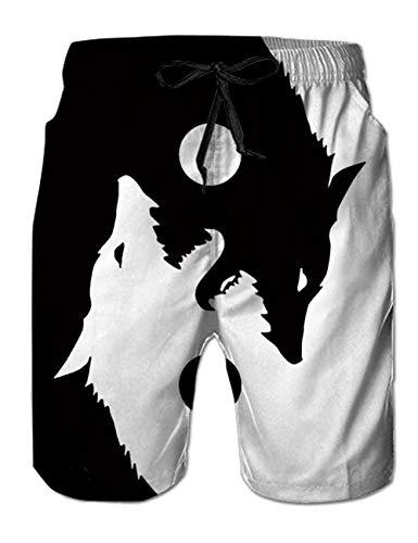 RAISEVERN Pantalones Cortos de baño para niños Maleta de Playa de Secado rápido Impresión 3D Yin Yang Wolf Board Pantalones de Surf Casuales de baño con Bolsillo XXL