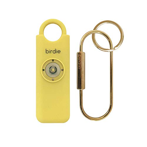 She's Birdie––The Original Personal Safety Alarm for Women by Women––130dB Siren, Flashing Strobe Light, Solid Brass Key Chain and Key Ring in 5 Pop Colors. (Lemon)