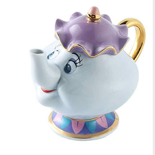 La Bella Y La Bestia Mrs Potts Ceramics - Juego De Taza De Té De Cerámica Chapada En Oro, Taza De Café Con Chips, Azucarero, Taza De Té, Juego De Té De Cerámica, Buen Regalo D